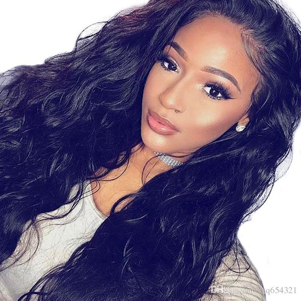 Brazilian Natural Wave Non full laceHigh temperature wire Wigs For Women Pre Plucked Wig With Hair Bleached Knots