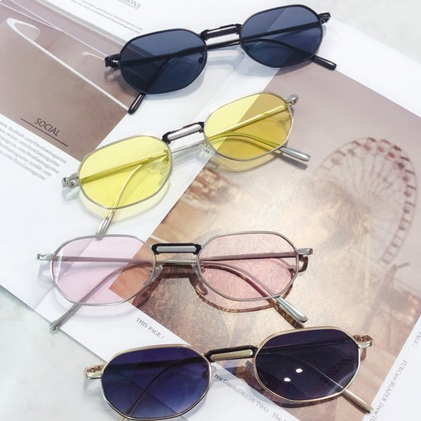 Fashion Good Quality Candy Color Retro Sunglasses Large Frame Woman Sunglasses Polygon Metal Small Unisex Anti-UV Sunglass