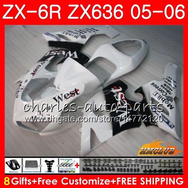 Corps + réservoir pour KAWASAKI NINJA 600CC ZX-636 ZX 6R 600 2005 2006 35NO.136 ZX6R 05 06 ZX600 ZX636 ZX 636 6 R blanc chaud à l'ouest ZX-6R 05 06 Carénages