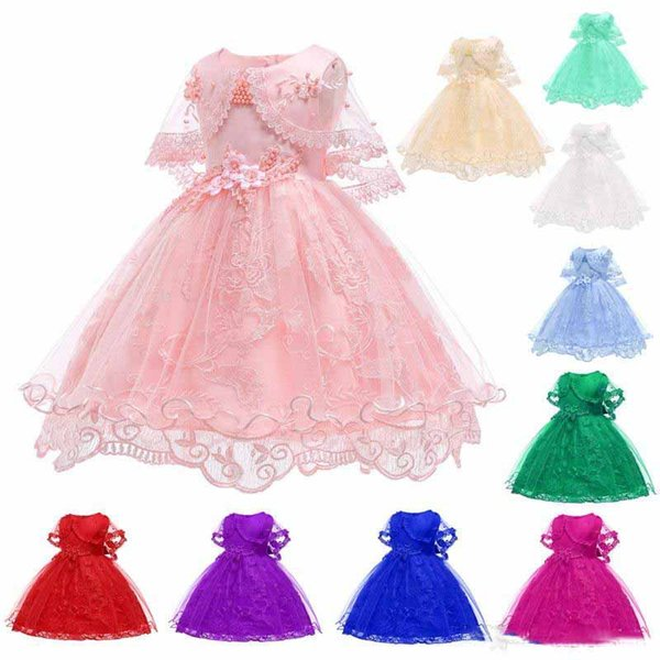 Kids Flower Girl Dress Cotton Lace Kids Prom Princess Dress Kids Girl Wedding Birthday Party Dress 2-10 Years Old Girl Skirt