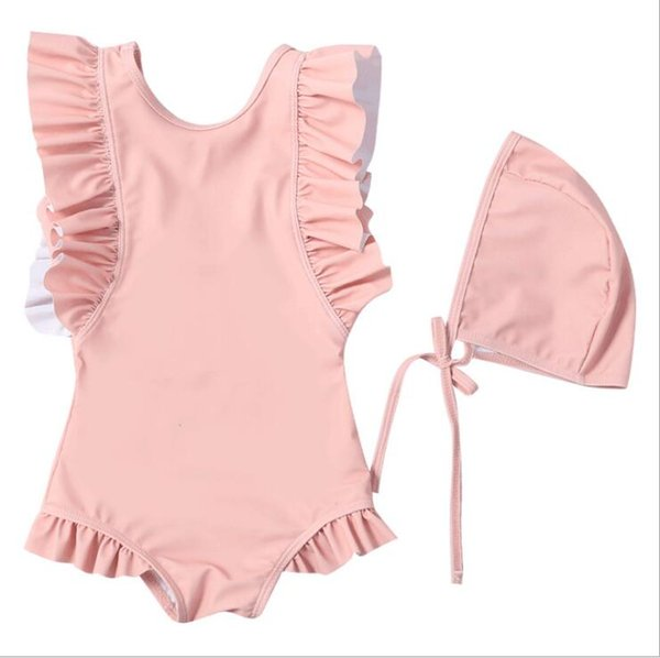 Kids Swimwear Girls One-Pieces Bikini Swim Caps Baby Summer Ruffle Swimsuit Shaggy Swimming Rompers Skirt Surf Beachwear Bathing Suits B5492