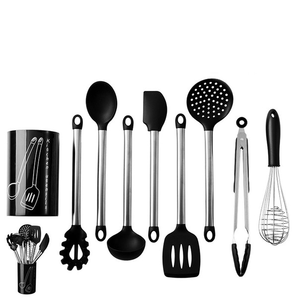 9 Pcs Silicone kitchen Accessories Set Non-stick Cooking Spoon Spatula Egg Beaters Utensils Dinnerware Set Kitchen Tools
