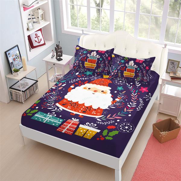 Compre Folha Colorida Do Natal Set Papai Noel Planta Imprimir Bed Crianças Dos Desenhos Animados Cabido Bolso Profundo Cama Rainha Rei De Bowstring