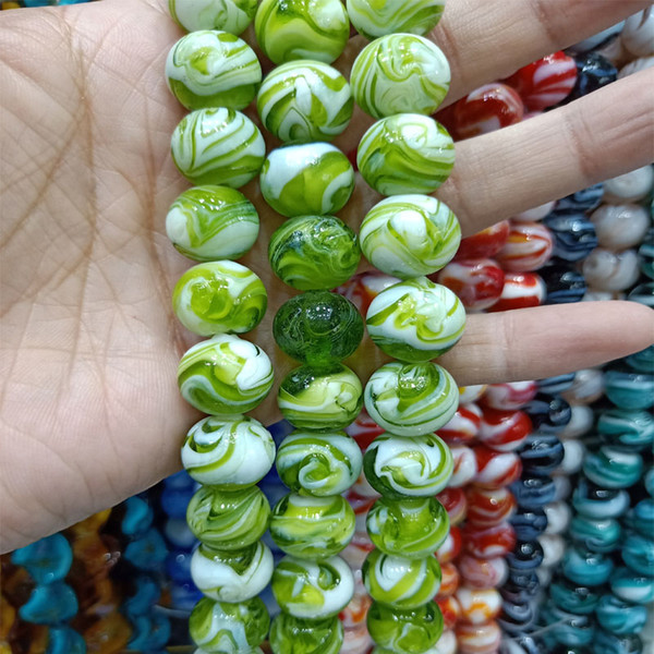 100PCS/LOT Round Spin Flower Lampwork Glaze Beads 14mm Loose Handmade Lampwork Beads For DIY Fashion Jewelry Making Accessories