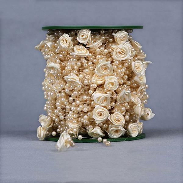 30 M / grup, 4 Renkler 4 MM Yapay Mini Reçine Inci Sprey Demet, 12 MM Saten Kurdele Sahte Güller, DIY Dekorasyon Için Düğün, Ev C18112601