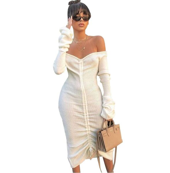 Designer de Casual das Mulheres Vestido de Outono Sexy Off-Ombro Correia de Manga Comprida Mid-comprimento Vestidos Personalidade Branca Vestido de Cordão