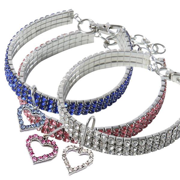 Collar de perro de gato de diamantes de imitación con el corazón en forma de collar del animal doméstico Moda Mascotas Cadenas del cuello S M L Tamaño 10cz E1