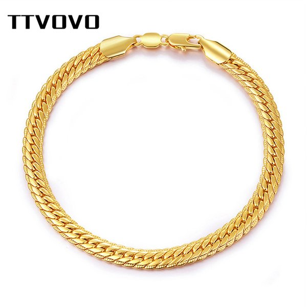 TTVOVO Mens Snake Chain Bracelets for Women Men Gold Color 6MM 22CM Wide Big Chunky Cuban Link Charm Chain Bangle Hiphop Jewelry