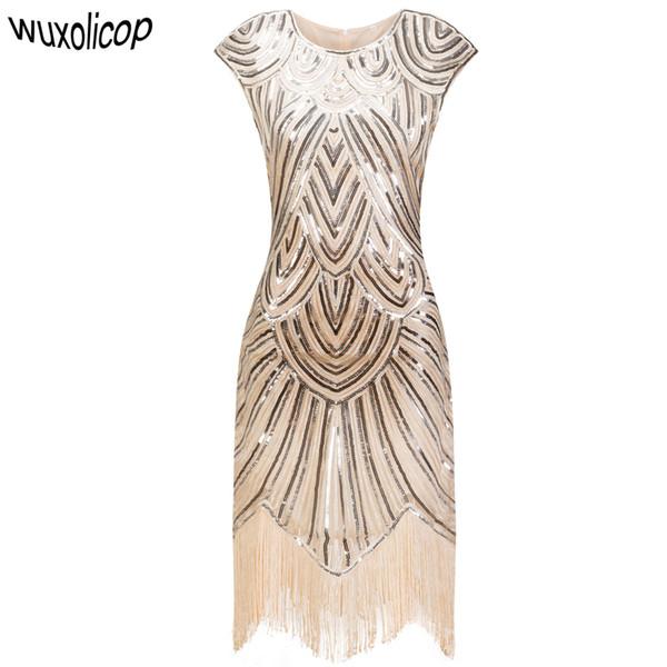 Vintage 1920s Flapper Great Gatsby Dress O-neck Cap Sleeve Sequin Fringe Party Midi Dress Vestidos Verano 2018 Summer Dress J190711