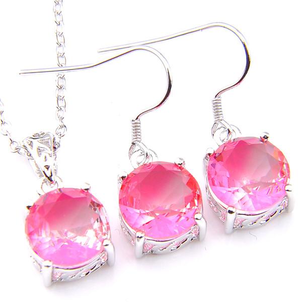 Luckyshine Engagement Jewelry Sets Round Pink Bi Colored Tourmaline Gems Silver Pendants Drop Earrings Jewelry Set NEW