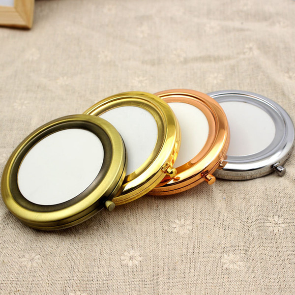 200pc 70mm pocket compact mirror favor round metal ilver makeup mirror gift make up tool rra1975