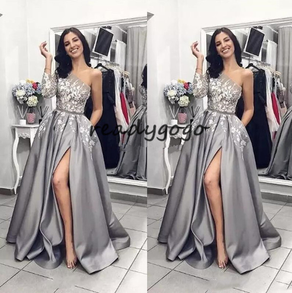 Silver Lace 2019 Vintage Sexy Prom Dresses One Shoulder A-line Satin split Evening Dresses Cheap Pageant Formal Party Gowns