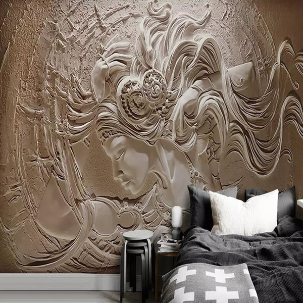 Modern European 3d embossed non-woven murals Ceramic shop clothing store background wall paper clay beauty 5d