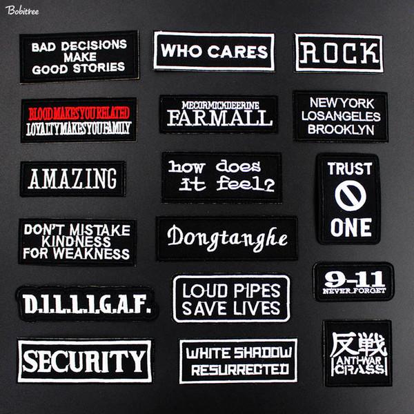 Punk Black White Words Slogan Patches für Stoff Gesticktes Eisen auf Abzeichen Etiketten Aufkleber für Jacke Jeans DIY Dekoration