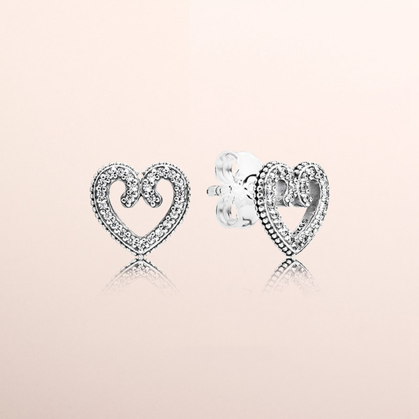 best selling Heart Swirl Stud Earrings Authentic 925 Sterling Silver CZ Diamond Women Earring Original Box for Pandora Hearts Fashion earrings