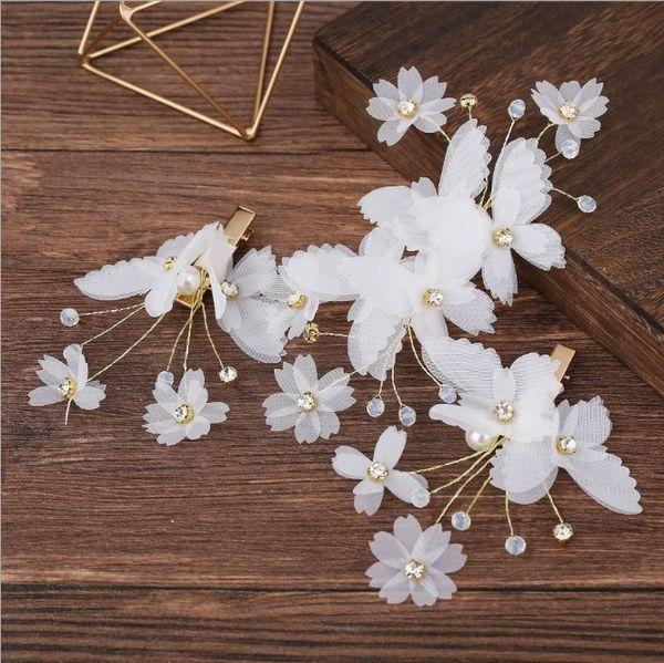 Acessórios de cabelo do casamento 3pcs Branco Floral nupcial da borboleta Headpiece Tiara Cabelo Vine Handmade Headband jóias para a noiva