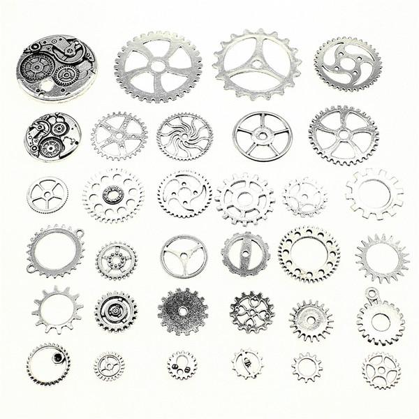 300 Gram Mix Tasarımları Antik Gümüş Renk Çinko Alaşım Dişli Charms Kolye Takı Aksesuarları