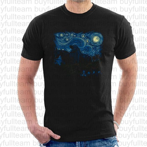 Halkalar Tişörtler Tees Erkek Siyah Kısa Kollu Yuvarlak Yaka T Shirt Büyüklüğün Erkekler Yıldızlı Gece In Middle Earth Rab S M L XL 2XL 3XL