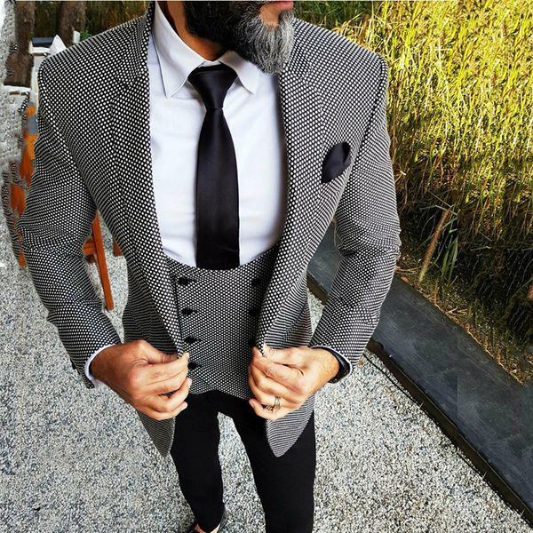 Pattern Tweed Custom Wedding Suits for Men Floral Slim Fit Groom Tuxedo British Men's Classic Suit Retro Male Blazer 3 Pieces C19011601