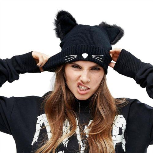 Hot Fashion Unisex Cute Hat Women Winter Beanie Devil Horn Cat Ear Crochet Braided Knit Ski Wool Cap Beanies