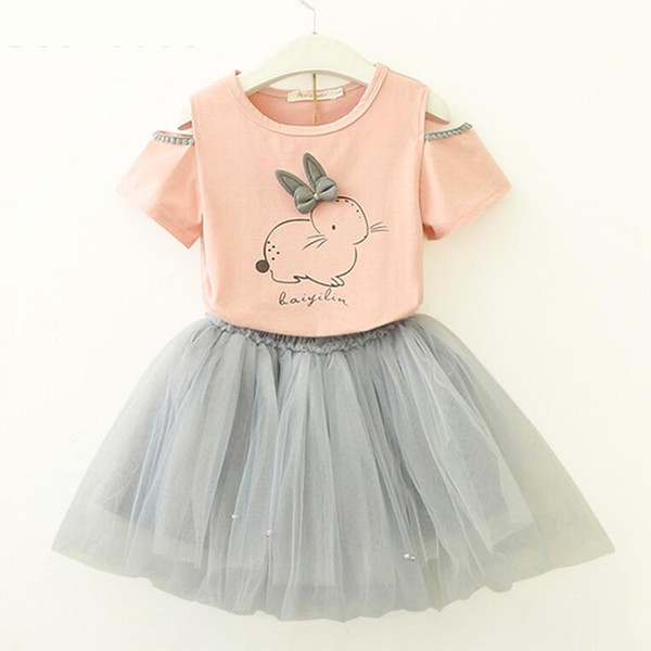 Ensembles de vêtements pour filles New Summer Fashion Style Cartoon Lapin Imprimé T-shirts + Robe rose 2Pcs filles ensembles de vêtements Girls 'Yarn jupe costume C33