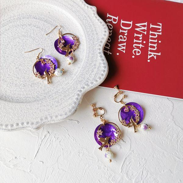 Piercing olmadan Küpe Şube klip küpe yok Deldi Kulaklar Doğal Shell Dilim Çiçek Klipler üzerinde Vintage Reçine Taş Kuş