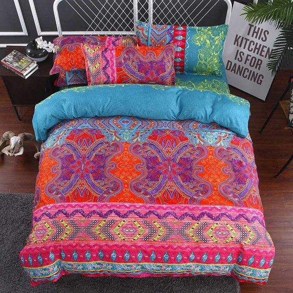 Bohemian Butterfly Bedding set With Pillowcases Ethnic style Duvet Cover Queen King Size Bedclothes 3pcs Bed linen