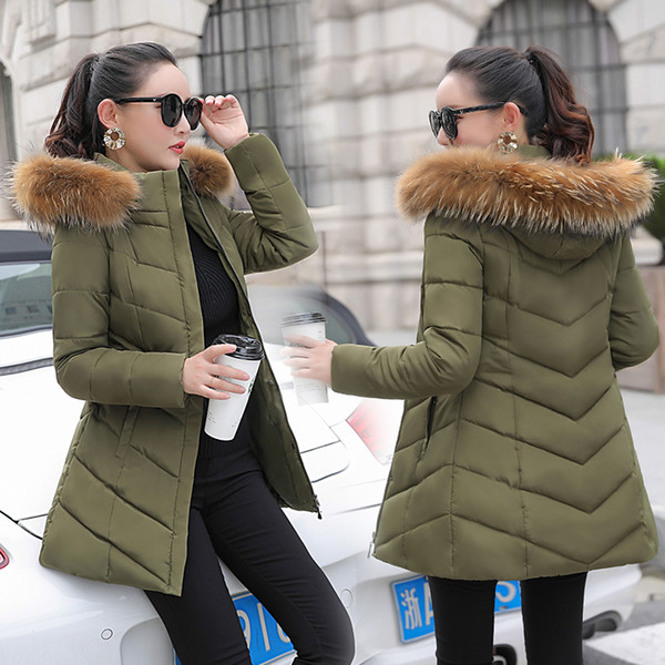 new winter women jacket medium-long plus size outwear hooded wadded coat slim parka cotton-padded jacket overcoat