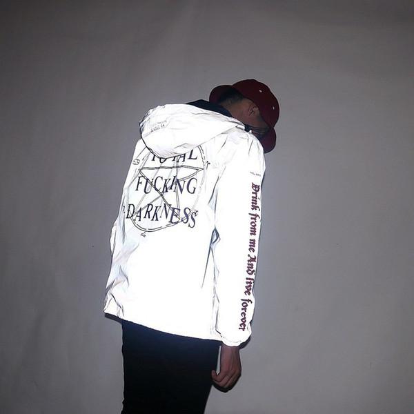 3M Reflective Giacche da uomo Star of Darkness Religioso Giacca a vento con cappuccio Gothic Vintage Hip Hop Coats impermeabile Abbigliamento uomo