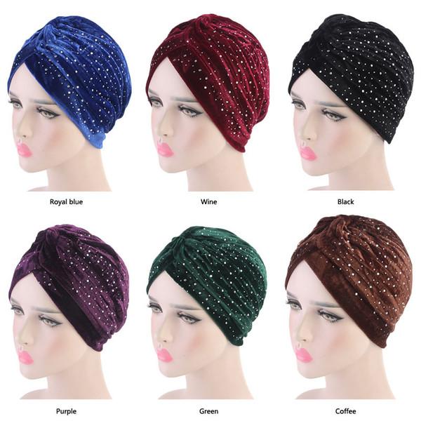 Women Rhinestoned Velvet Turban Neon Casual Twist Stretch Turban Headband Chemo Hat Hijab Turbante Hair Accessories Nice Gift