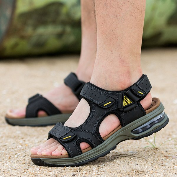 new fashion men genuine leather beach sandals shockproof air cushion design summer seaside shoes open toe shoe chaussure homme