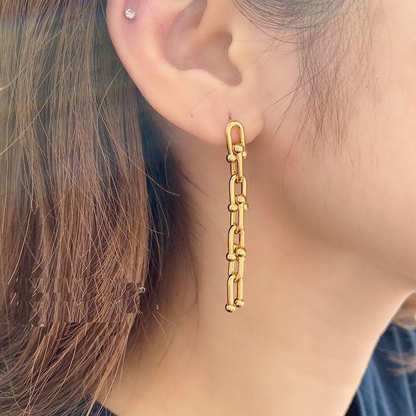 top popular New Brand Women Earrings Vintage Metal U Chains Stud Earrings for Women Goth Jewelry Punk Female Chain Tassel Earrings Pendant Bijoux 2020 2021