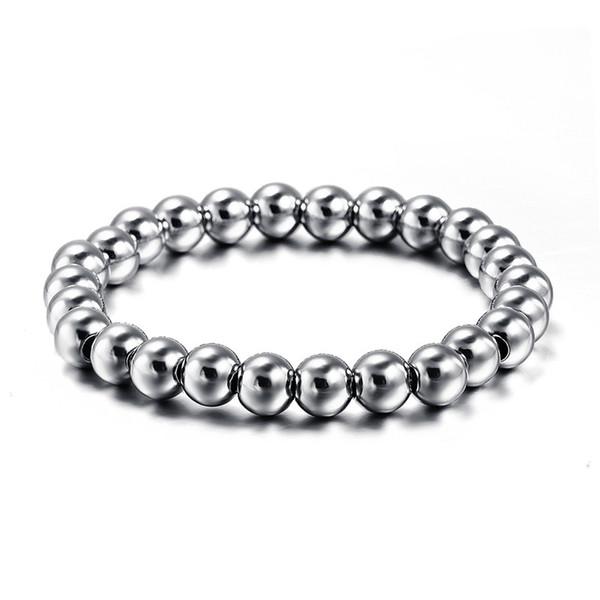 Nouveau unisexe jamais fondu en acier inoxydable Perle BraceletsBangles pour les hommes ou les femmes balle Stretchable Strand Punk Bracelet Fine Jewelry