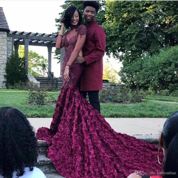 Stunning 2019 Grape Prom Dresses Couple Fashion Vintage Long Sleeve 3D Rose Flowers Appliques Ruched Long Party Gowns Evening Wears