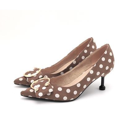 Banquet hot fashion pointed polka-dot high heels Personality versatile non-slip fashion thin cat with single shoes