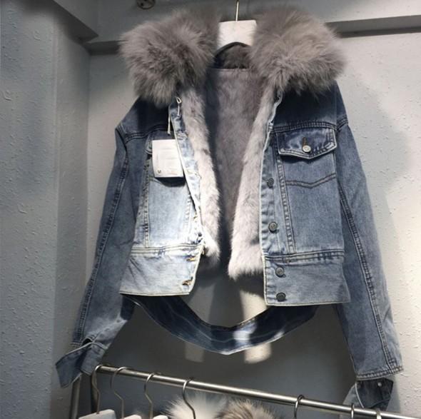여성 데님 자켓 가을 겨울 뉴 슬림핏 데님 자켓 여성 두꺼운 패치 워크 여우 모피 칼라 아시아 크기 S-XL