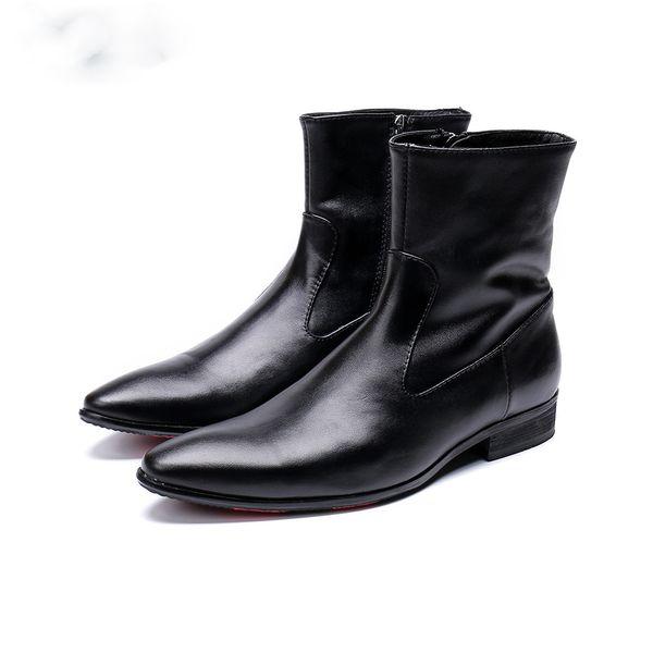 Christia Bella Autumn Winter Boots Men Short Black Soft Leather Dress Boots Men Cowboy Knight botas hombre