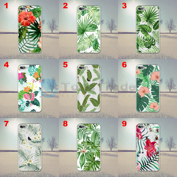 [TongTrade] Palm Leaf Cover For iPhone XS Max XR X 8/7 6/6s Plus Case Transparent TPU Black Soft Silicone Coloured Painting Luxury Custom