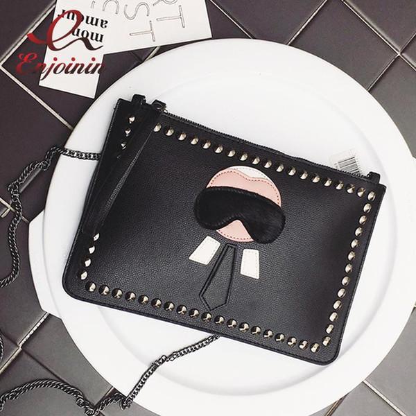 Yeni Karikatür tasarım kişiselleştirilmiş moda Lafayette perçinler zarf çanta debriyaj çanta çanta rahat omuz çantası siyah gümüş