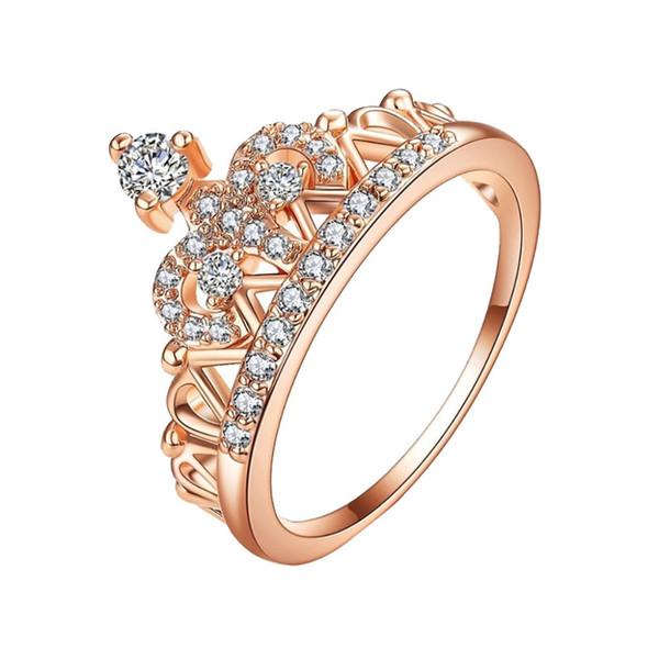 Acheter Luxe Noble Rose Couronne Cuivre Plaqué Dames Bague Bijoux Pour Les  Femmes Anillos Mujer Bague Femme Engagement Féminin A30 De $33.17 Du Tonic