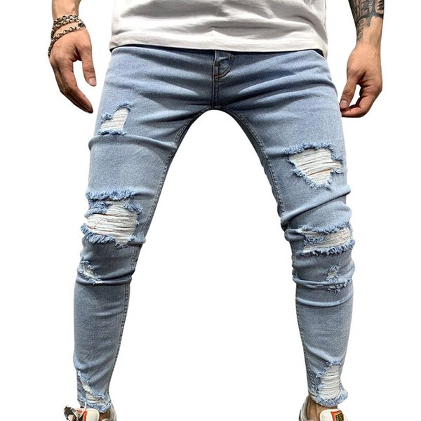 SHUJIN Cotton Jean Men's Pants Vintage Hole Cool Trousers Guys 2019 Summer Europe America Style Plus Size 3XL Ripped Jeans Male