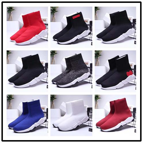 Nouveau Designer Casual chaussures Sneakers Speed Runner Chaussures de mode Chaussette Triple Black Boots Red Flat Trainer Hommes Femmes Casual Chaussures Sport