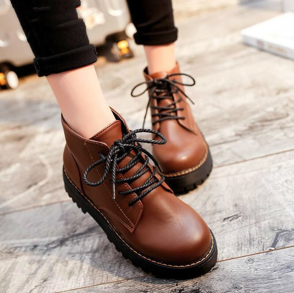 Woman Fashion Genuine Leather Motorcycle Ankle Boots Fashion low-heeled Solid Leather Boots with non-slip Warm Boots yhj90