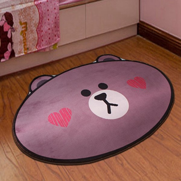 Cartoon Bear Face Pattern Printed Carpet For Living Room Computer Chair Area Rugs Children Play Tent Floor Mat Cloakroom Rug