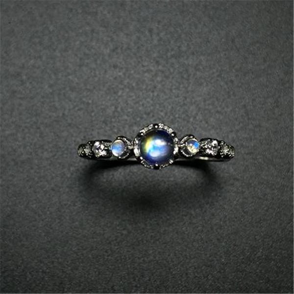 YKNRBPH 2019 nuovo stile naturale blu Moonstone Anello S925 argento gioielli retrò retrò anello aperto