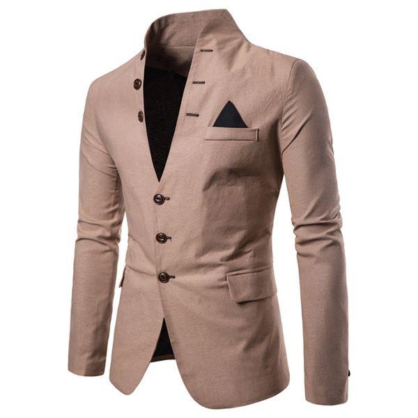 New Men Blazer New Fashion High Quality Cotton Blends Slim Fit Men Suit Terno Masculino Blazers Men