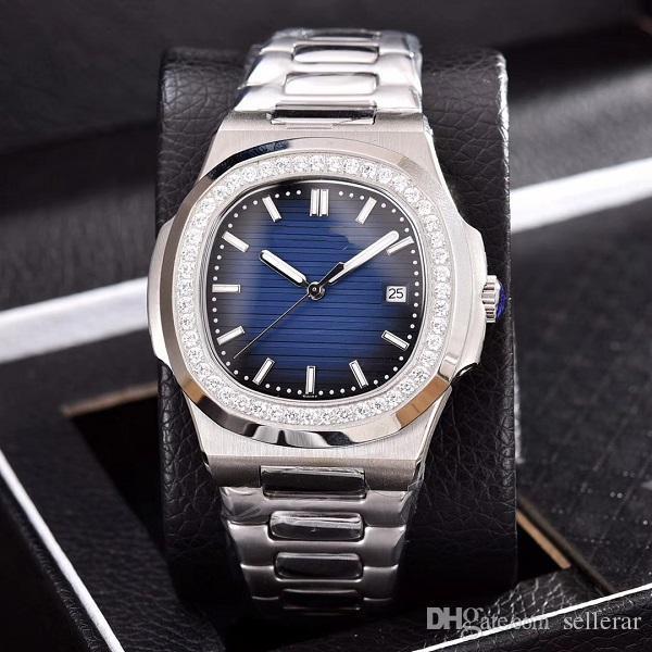 Aço inoxidável Diamond Watch Alta Qualidade mecânico automático Cinta Nautilus Men Mens Relógios de pulso dos homens Top Luxo Qualidade