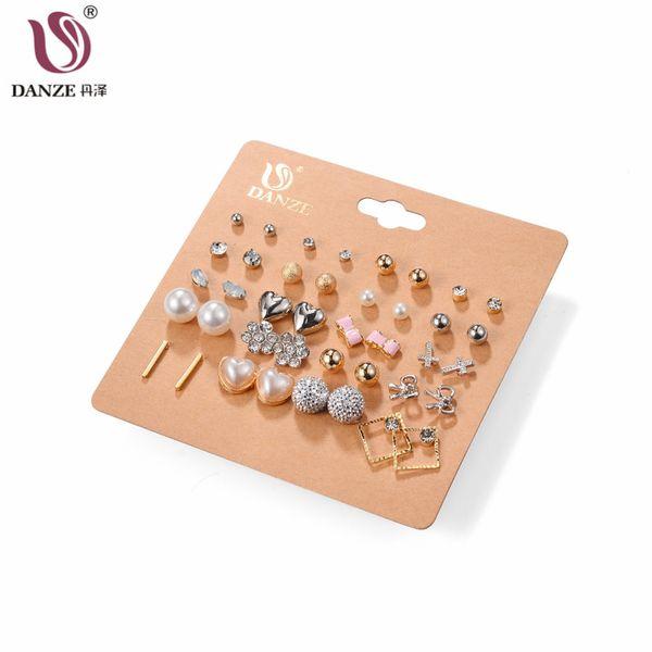 DANZE 20 Pairs/lot Punk Mixed Birds Star Heart Cross Shaped Small Stud Earrings Set For Women Imitation Pearl Jewelry kolczyki