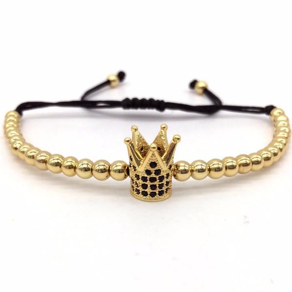 Fashion Imperial Crown Charm Men's Bracelets Micro Pave CZ Beads Trendy Braided Macrame Bracelets