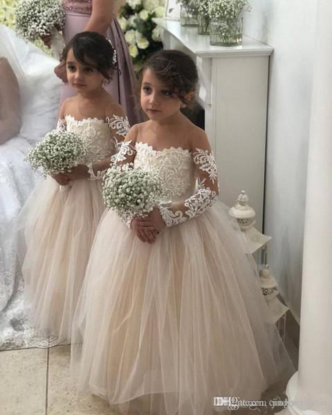 2019 Flower Girls Dresses For Weddings Sheer Neck Long Sleeves Applique Lace Tulle Children Wedding Dresses Girls Pageant Dress